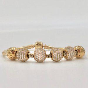 Pandora 14K bracelet with crystal charms